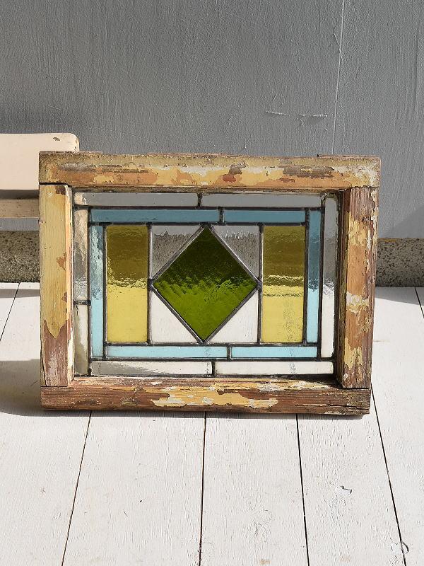 イギリス アンティーク ステンドグラス 幾何学 6944