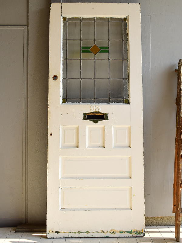 イギリス アンティーク ステンドグラス入り木製ドア 扉  建具 6966