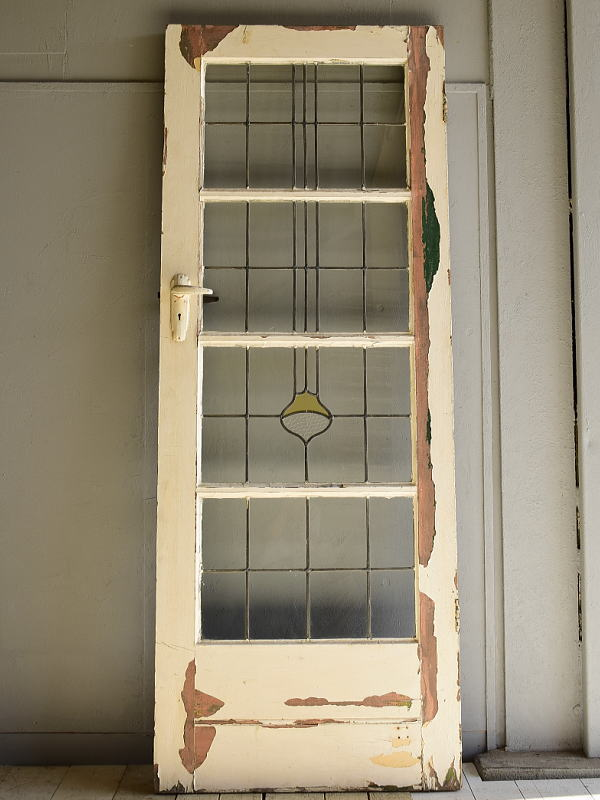 イギリス アンティーク ステンドグラス入り木製ドア 扉 建具 6967