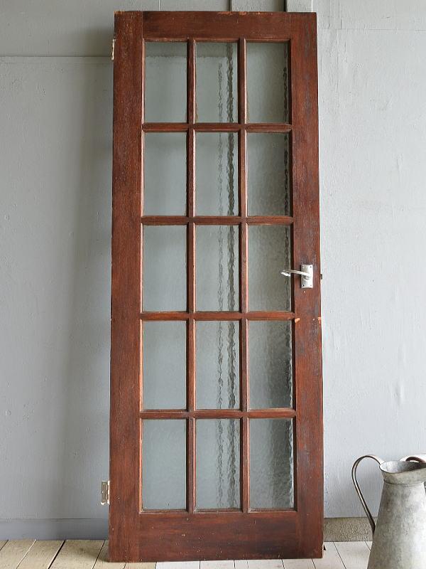 イギリス アンティーク ガラス入り木製ドア 扉 建具 6997
