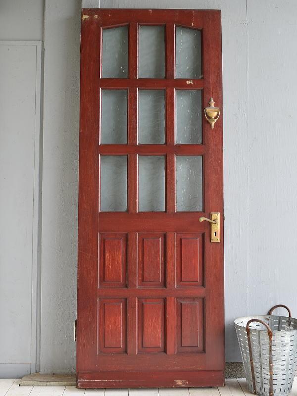 イギリス アンティーク ガラス入り木製ドア 扉 建具 6998
