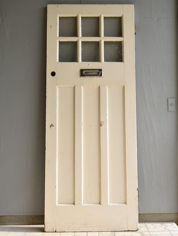 イギリス アンティーク ガラス入り木製ドア 扉 建具 7003