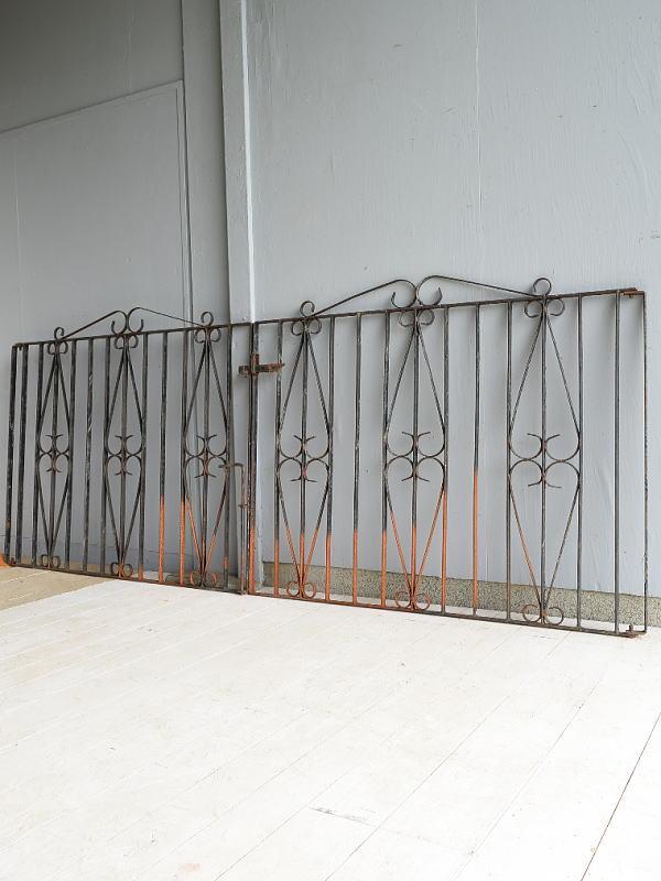 イギリス アンティーク アイアンフェンス ゲート柵  7067