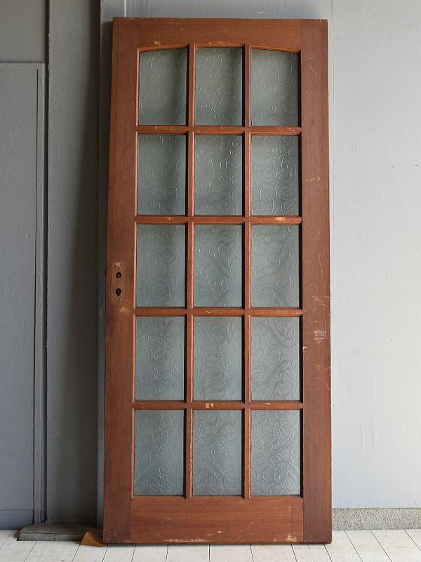 イギリス アンティーク ガラス入り木製ドア 扉 建具 7097