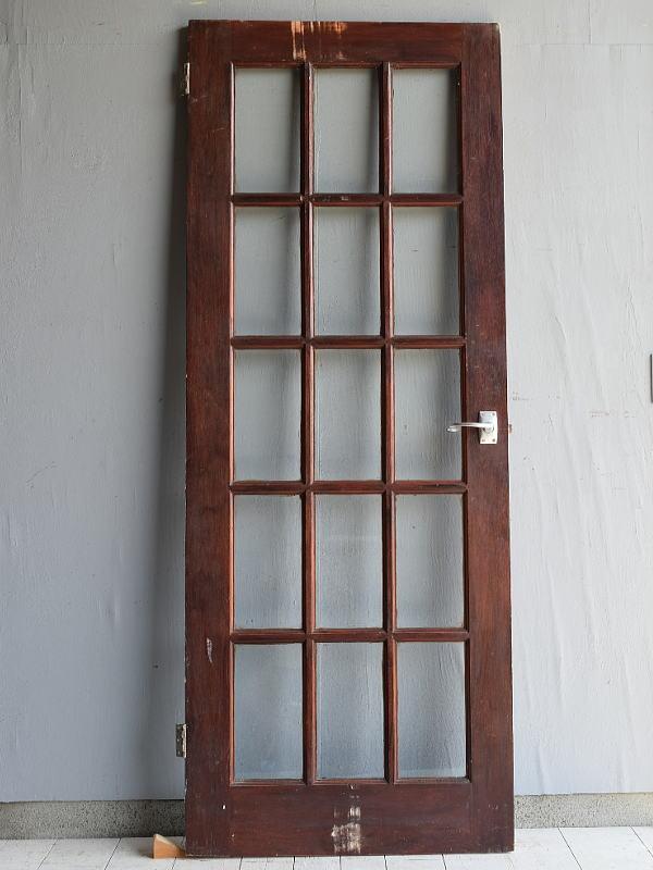 イギリス アンティーク ガラス入り木製ドア 扉 建具 7113