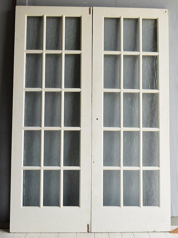 イギリス アンティーク ガラス入り木製ドアペア 扉 建具 7115