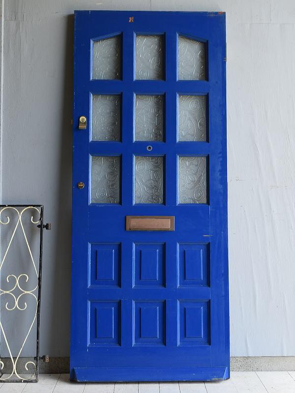 イギリス アンティーク ガラス入り木製ドア 扉 ディスプレイ 建具 7117