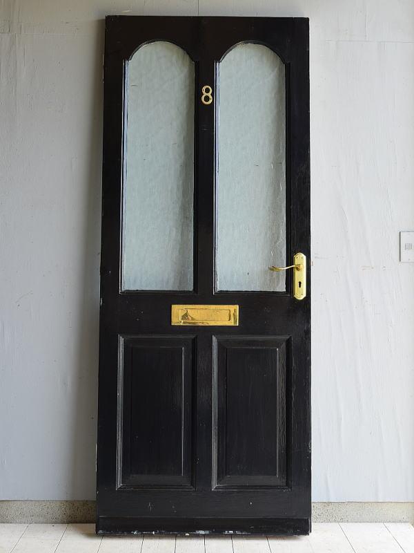 イギリス アンティーク ガラス入り木製ドア 扉 ディスプレイ 建具 7126