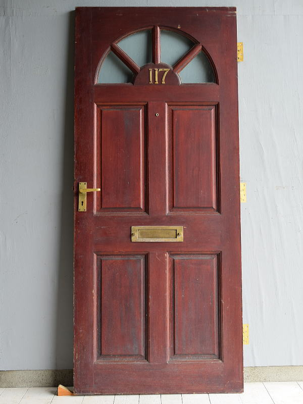 イギリス アンティーク アクリル入り木製ドア 扉 建具 7146