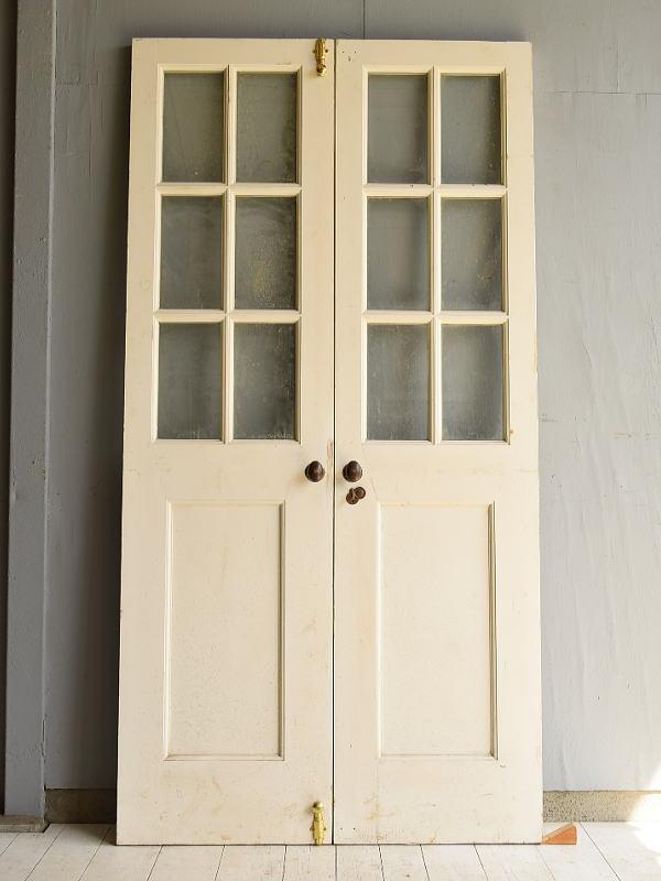 フレンチ アンティーク ガラス入り木製ドアペア 扉 建具 7149