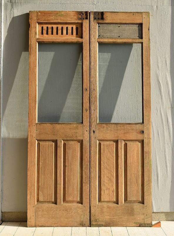 イギリス アンティーク ガラス入り木製ドア2枚セット 扉 建具 7156