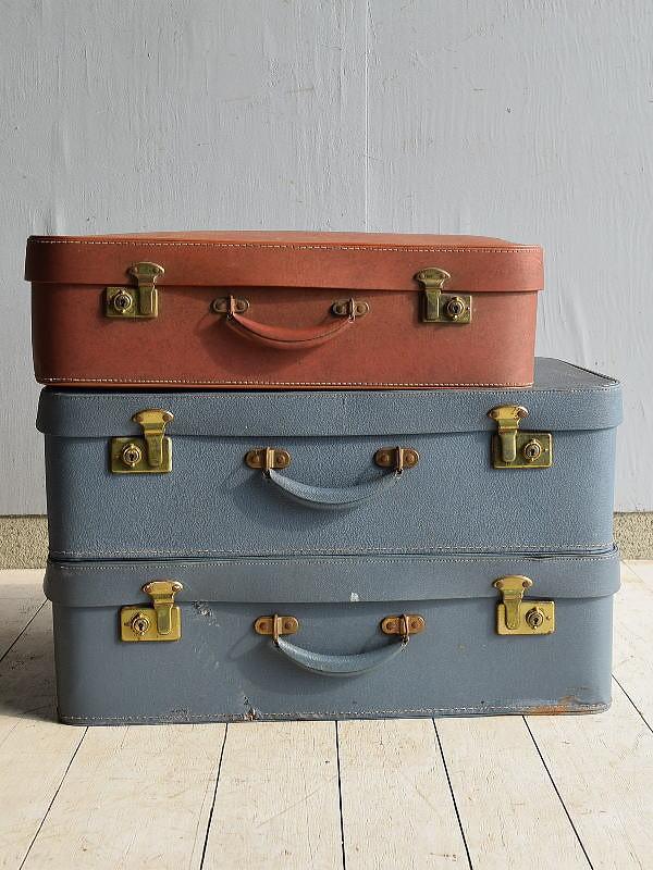 イギリス アンティーク スーツケース トランク ディスプレイ 旅行鞄×3  7162