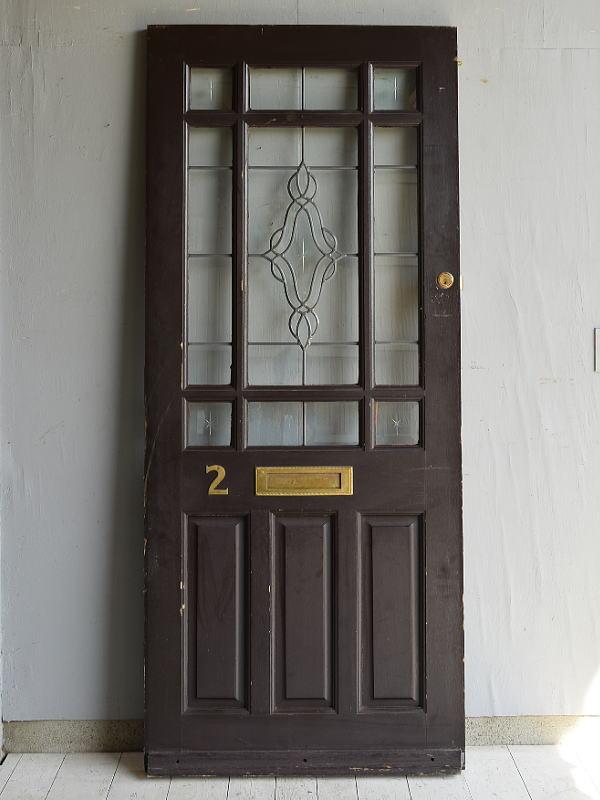 イギリス アンティーク ガラス入り木製ドア 扉 建具 7172