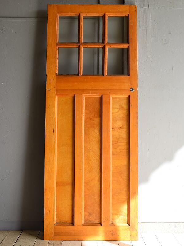 イギリス アンティーク ガラス入り木製ドア 扉 建具 7198