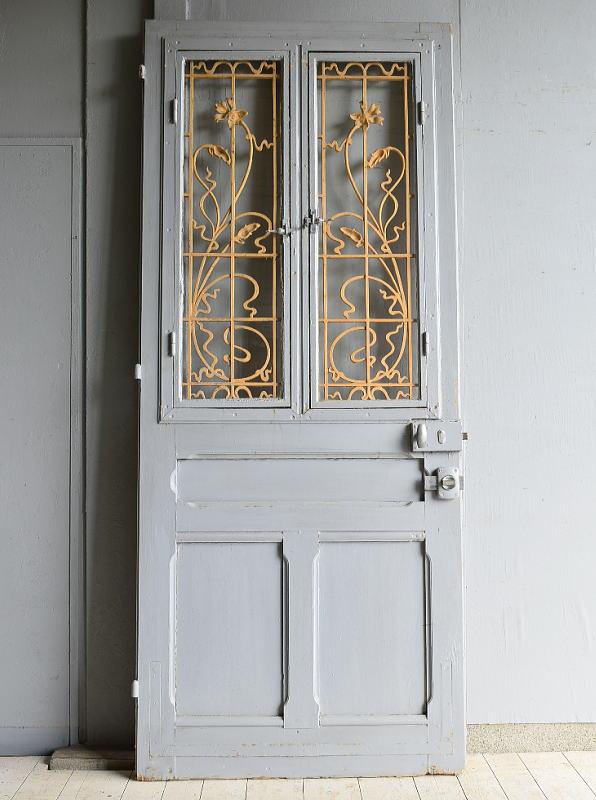 フレンチ アンティーク ガラス入り木製ドア 扉 ディスプレイ 建具 7231