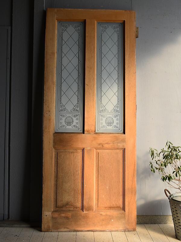 イギリス アンティーク ガラス入り木製ドア 扉 建具 7250