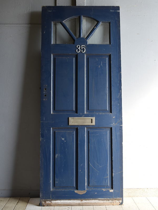 イギリス アンティーク ガラス入り木製ドア 扉 建具 7251