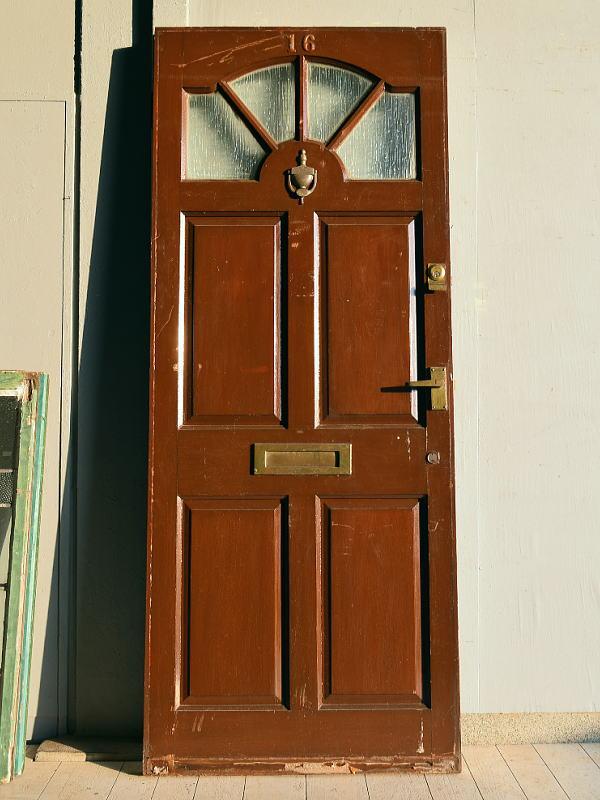 イギリス アンティーク ガラス入り木製ドア 扉 建具 7550