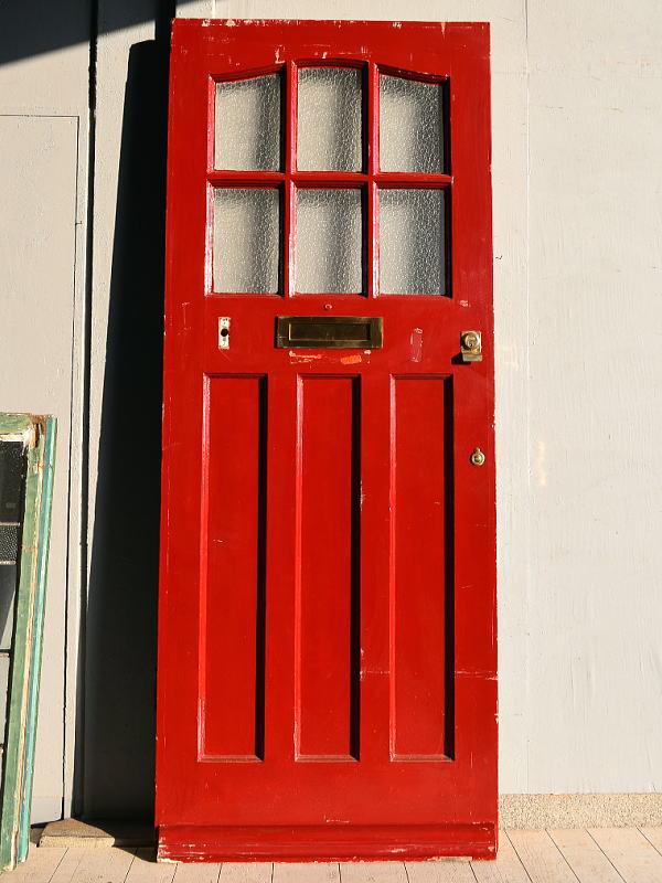イギリス アンティーク ガラス入り木製ドア 扉 建具 7551