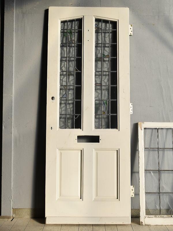 イギリス アンティーク ステンドグラス入り木製ドア 扉 建具 7642