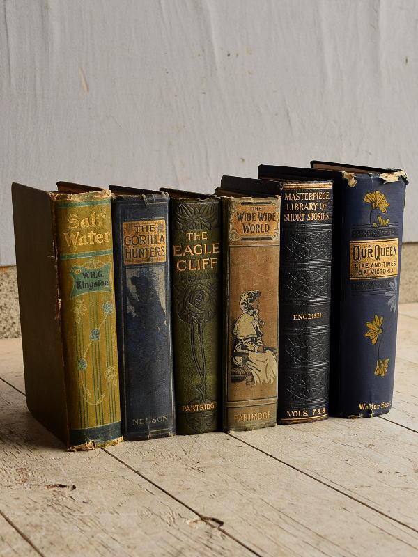 イギリス アンティーク ブック 本 6冊セット ディスプレイ  7657