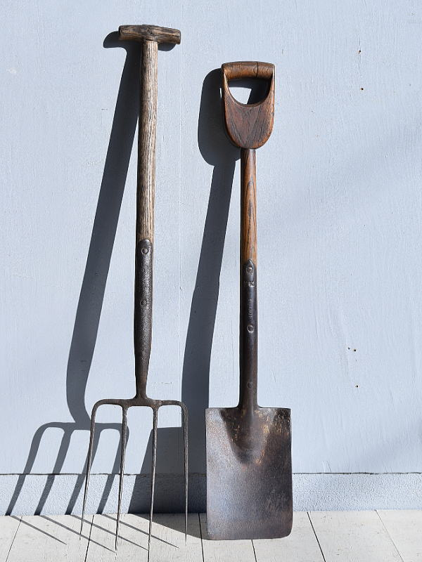 イギリスアンティーク ガーデンフォーク&スコップ 農機具 7801