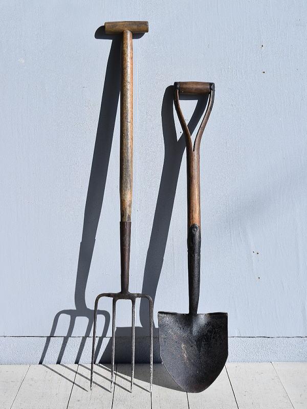イギリスアンティーク ガーデンフォーク&スコップ 農機具 7802