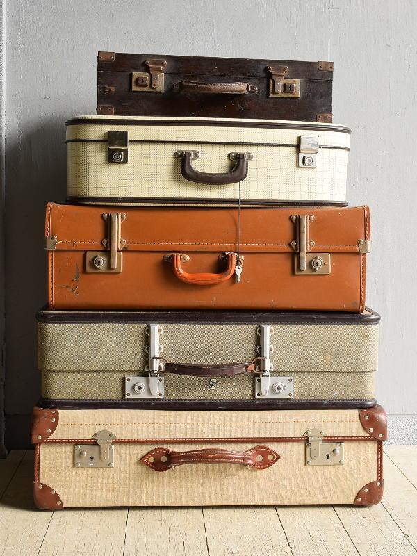 イギリス アンティーク スーツケース×5  トランク ディスプレイ 旅行鞄 7882