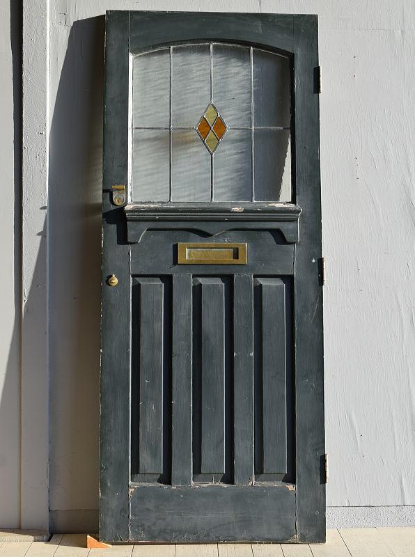 イギリス アンティーク ステンドグラス入り木製ドア 扉 建具 7884