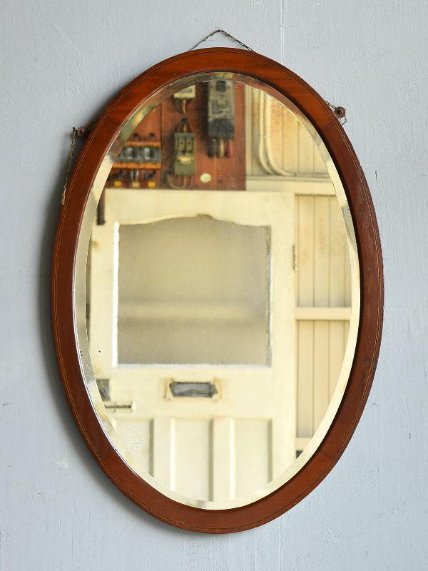 イギリス アンティーク  木製枠 ミラー 鏡 7925