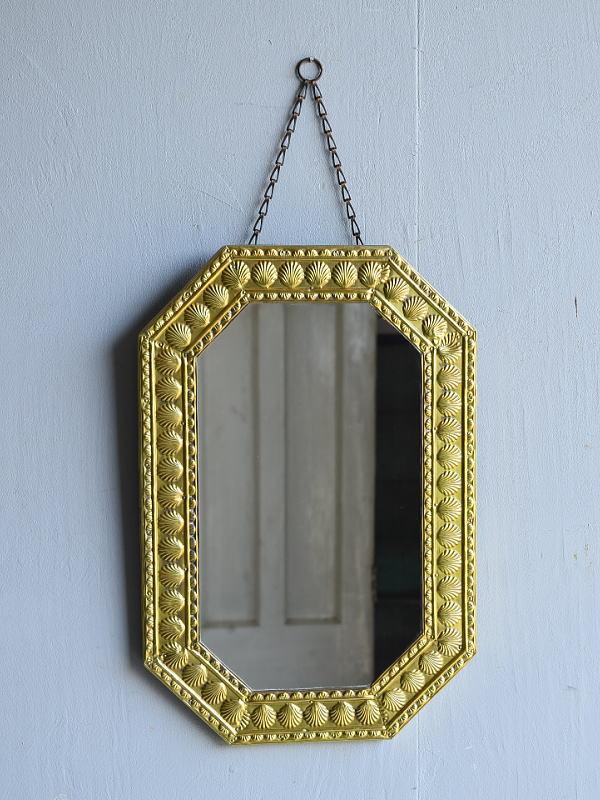 イギリス アンティーク  壁掛け ミラー 鏡  7948