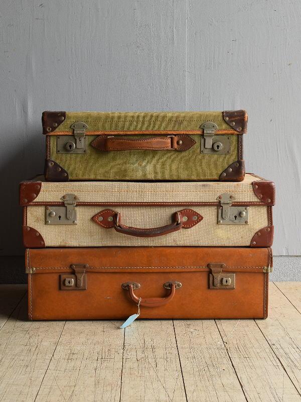 イギリス アンティーク スーツケース×3 トランク ディスプレイ 旅行鞄 8042