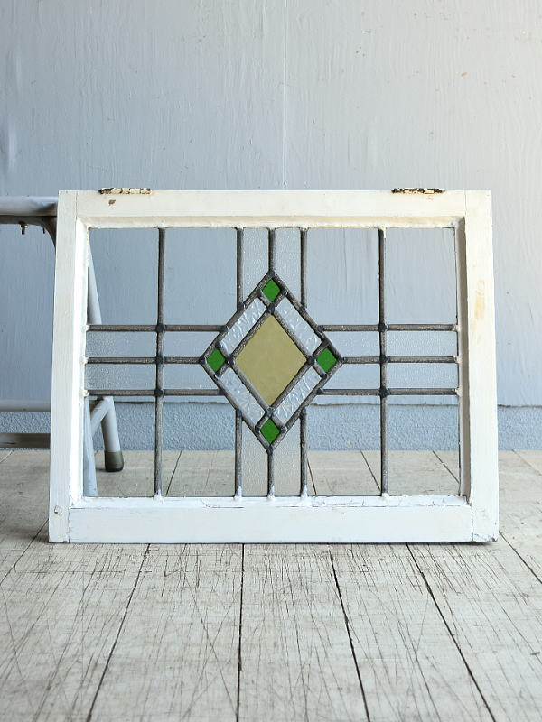 イギリス アンティーク ステンドグラス 幾何学 8112