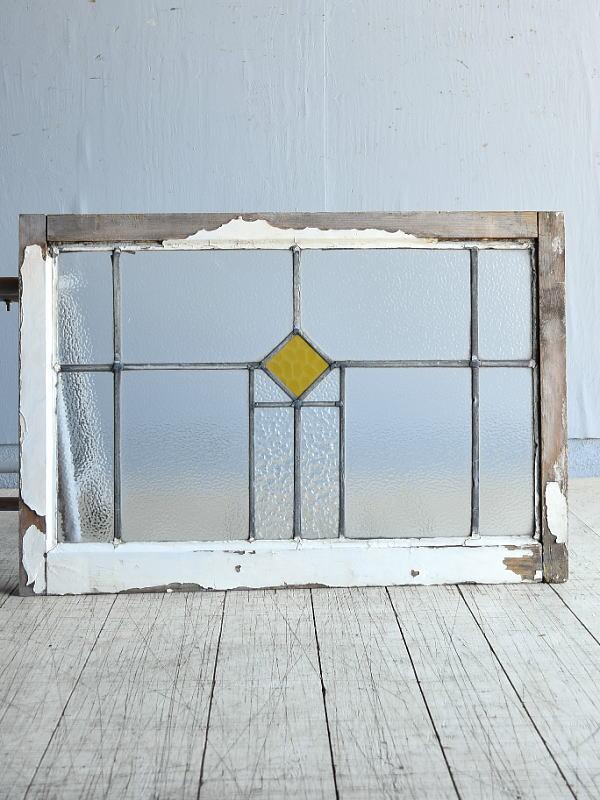 イギリス アンティーク ステンドグラス 幾何学 8164