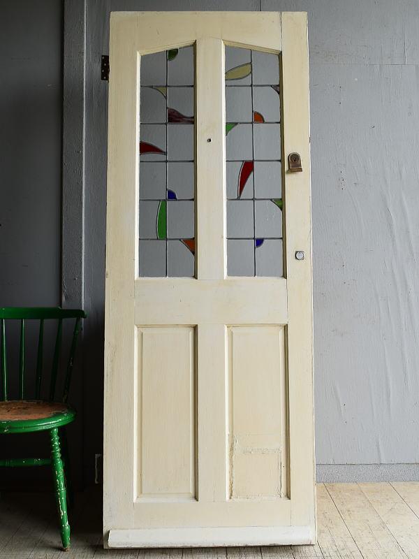 イギリス アンティーク ステンドグラス入り木製ドア 扉 建具 8193