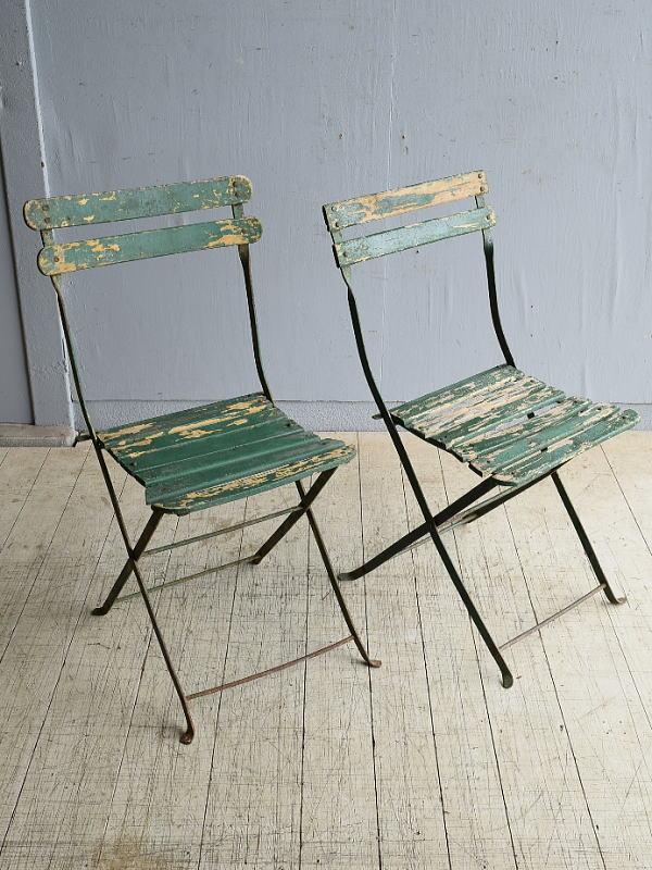 フレンチ アンティーク フォールディング ガーデンチェア 椅子 8250