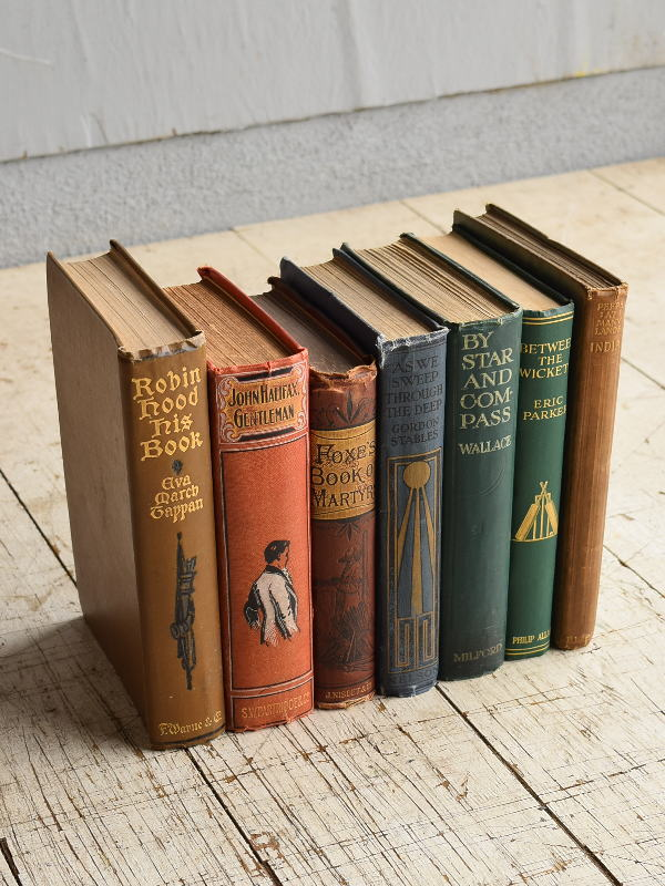 イギリス アンティーク ブック 本 洋書 7冊セット ディスプレイ 8271