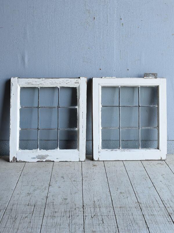 イギリス アンティーク 窓 無色透明×2 建具 8289