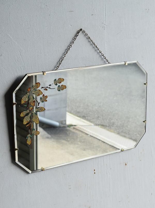 イギリス アンティーク 壁掛け ミラー 鏡 8326