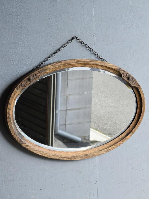 イギリス アンティーク  木製枠 ミラー 鏡 8328
