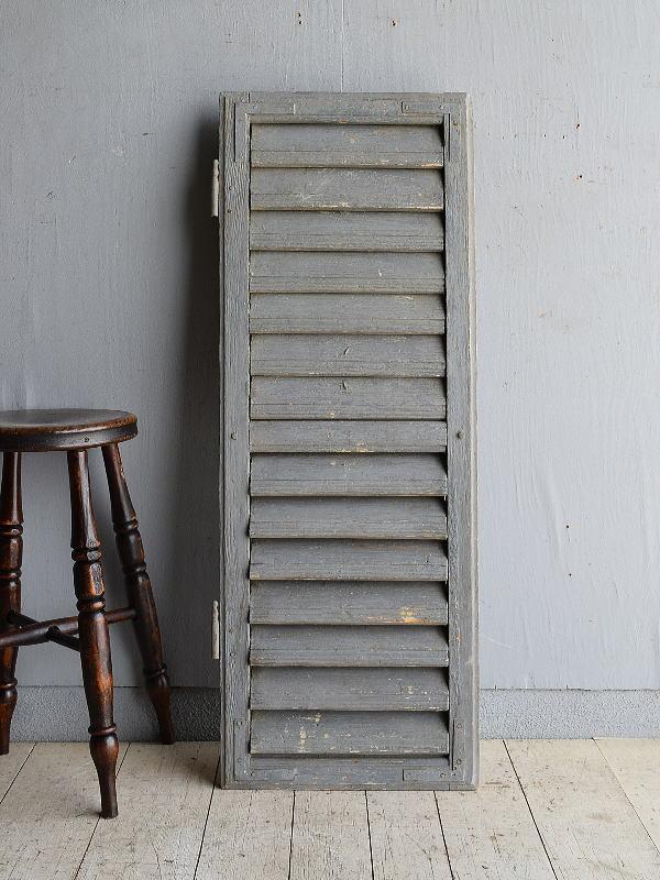 ルーマニア製 アンティーク 木製ルーバー雨戸 ディスプレイ 建具 9578