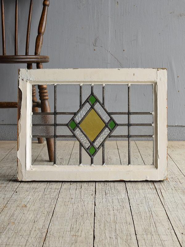 イギリス アンティーク ステンドグラス 幾何学 8528