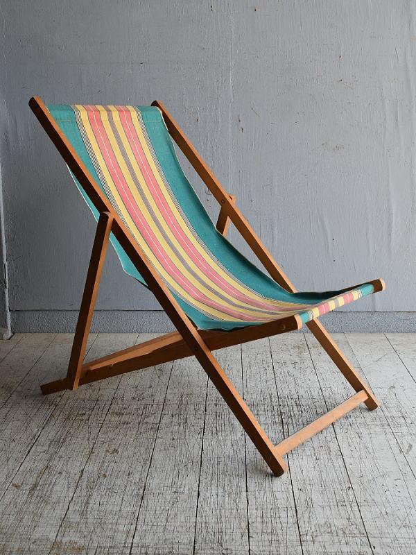 イギリス アンティーク フォールディングデッキチェア 椅子 8618