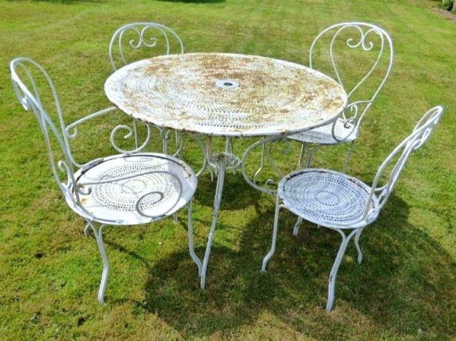 フレンチ アンティーク ガーデンチェア&テーブル セット 8619
