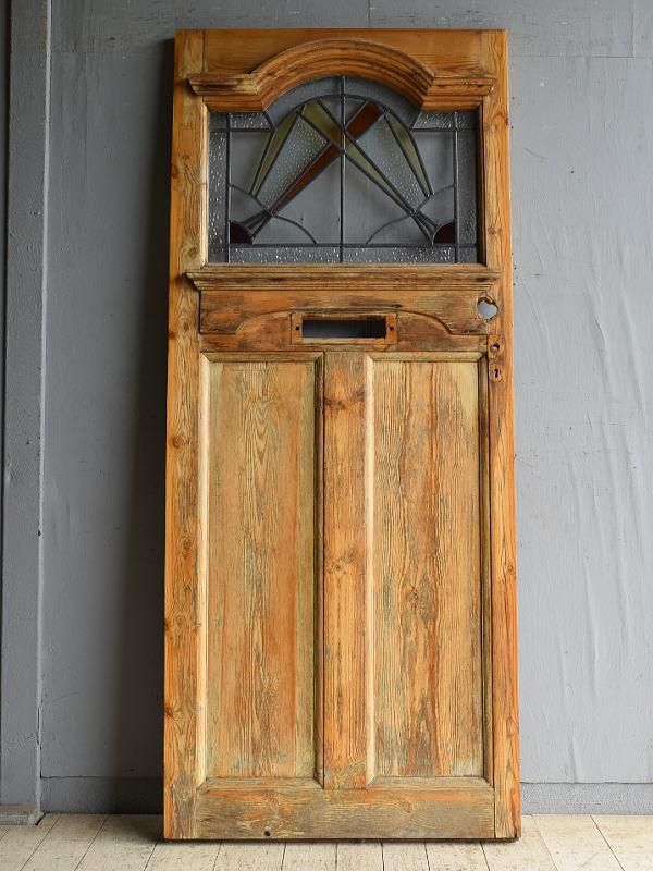 イギリス アンティーク ステンドグラス入りドア 扉 建具 8658