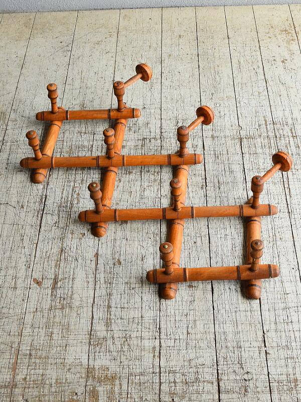 フレンチ アンティーク 木製コート&ハットフック    8693