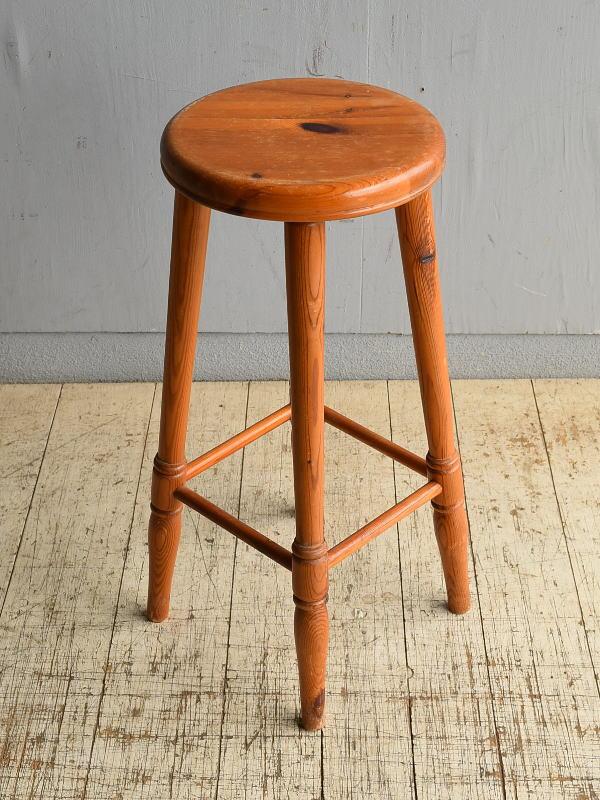イギリス アンティーク家具 ハイスツール パイン  椅子 8703
