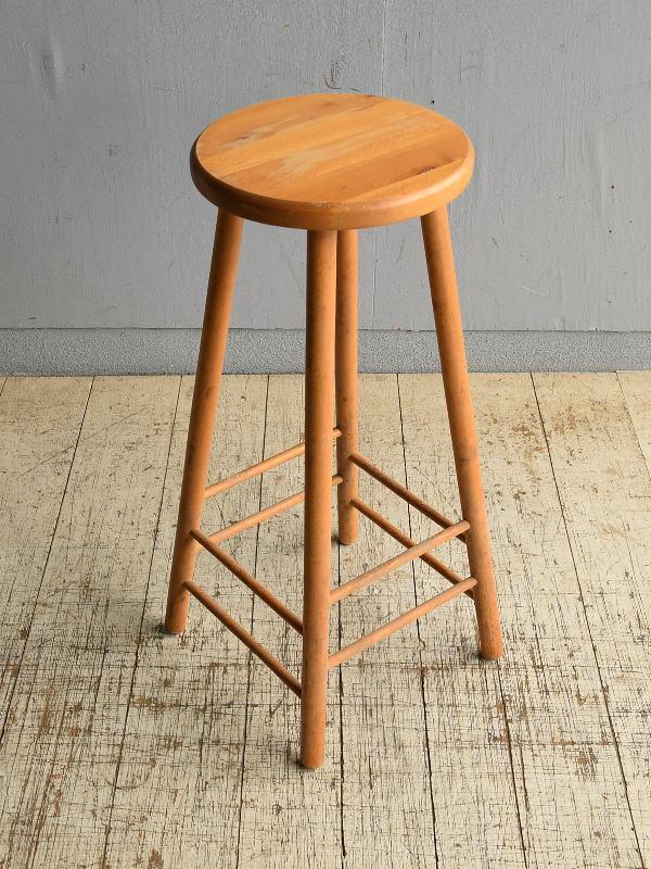 イギリス アンティーク家具 木製 ハイスツール  椅子 8706