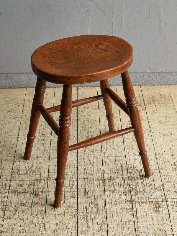 イギリス アンティーク家具 木製スツール  椅子 8707
