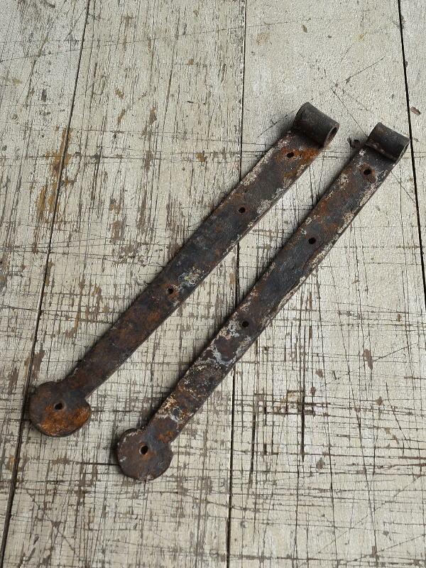 イギリス アンティーク 鉄製ヒンジ×2 建具金物 8800